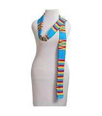 cotton blend kente cloth scarf, 'hold hands' (ghana)
