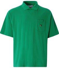 ymc frat cotton slub jersey polo shirt | green | p6qao-30