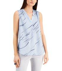 alfani petite printed sleeveless v-neck blouse, created for macy's