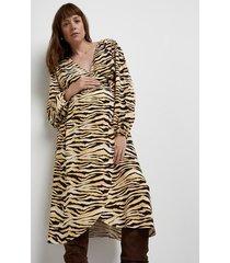 river island womens brown maternity animal print wrap midi dress
