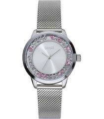orologio da polso solo tempo 3h in acciaio e cristalli con cinturino in maglia silver per donna