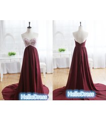 long sweetheart beaded burgundy chiffon prom homecoming formal gown dress
