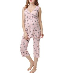 women's kimi and kai loren maternity/nursing pajamas, size x-small - pink