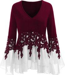 plus size applique flowy v-neck blouse