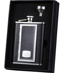 visol sp black leather flask ith built-in cigarette case