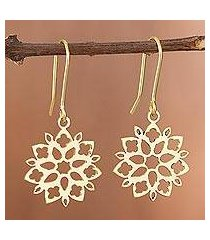gold plated sterling silver dangle earrings, 'snowflake flowers' (peru)