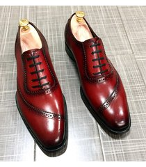 luxury men's fashion shoes handmade genuine burgundy leather formal dress shoes
