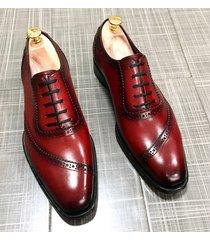luxury men's fashion shoes handmade genuine burgundy leather formal dress shoes