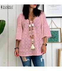 zanzea mujer ata cuello en v manga 3/4 ahueca hacia fuera las tapas flojas ocasionales camisas blusas -rosado