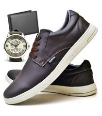 tênis sapatênis casual fashion com carteira e relógio new masculino dubuy 1401el marrom