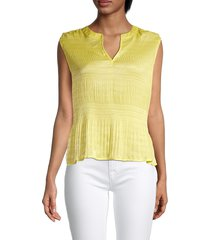 t tahari women's ruched crewneck top - yellow lily - size l