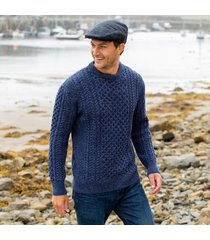 men's traditional merino wool aran sweater blue small