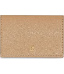 burberry small grainy leather folding wallet - neutrals
