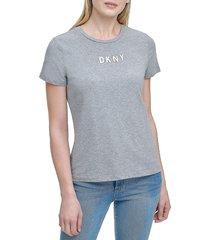 dkny women's heat set logo t-shirt - avenue grey - size xl
