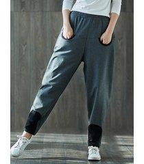 pantaloni harem da donna elastici in vita con patchwork casual