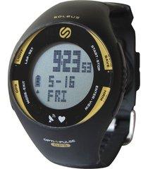 reloj monitor sin banda soleus pulse gps negro/amarillo