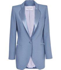 hebe studio light blue cady blazer