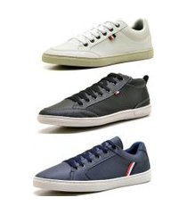 kit 03 sapatênis polo state mark scotian stoke preto/branco/azul