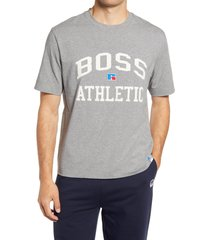 boss x russell athletic tra varsity logo t-shirt, size x-large - grey