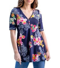 women's flared floral print elbow sleeve tunic top