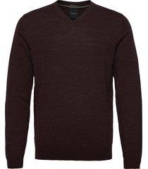 100 % merino v-neck knit stickad tröja v-krage brun lindbergh