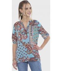 blusa manga corta con botones turquesa curvi