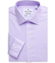 brooks brothers men's regent-fit plaid dress shirt - purple - size 16.5 34