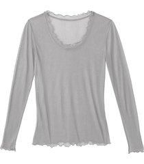shirt met lange mouwen en ronde hals uit biologische zijde, platina 34