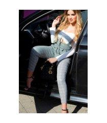 trendy hoge taille geruite broek met braces zwartwit