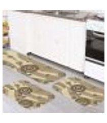 kit tapete de cozinha abstrato único 40x120