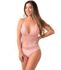 body sem bojo vip lingerie renda decote costas rose - rosa - feminino - poliamida - dafiti
