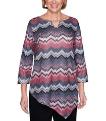 alfred dunner petite madison avenue textured chevron-print top
