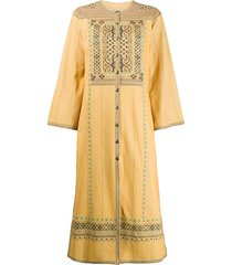 etro button-up mid-length dress - yellow