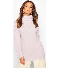 fisherman roll neck sweater, lilac