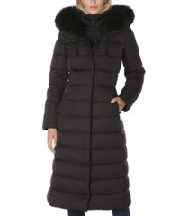 tahari faux-fur-trim hooded maxi puffer coat