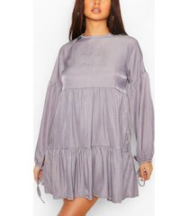 chambray tie sleeve tiered smock dress, blue