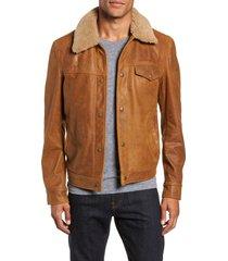 men's schott nyc vintage buffalo leather trucker jacket with genuine sheepskin collar