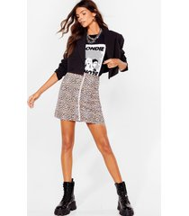 womens claw breaker leopard mini skirt - tan