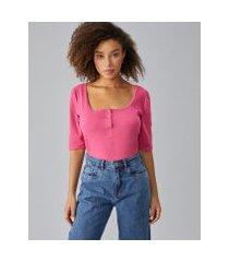amaro feminino blusa algodão com botões ombro franzido, pink