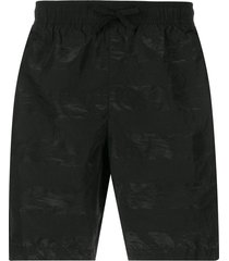 stone island shadow project striped swim shorts - black
