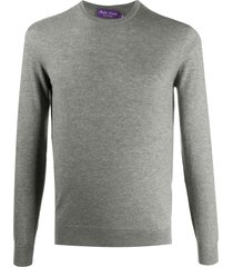 ralph lauren purple label long-sleeved ribbed knit sweater - grey