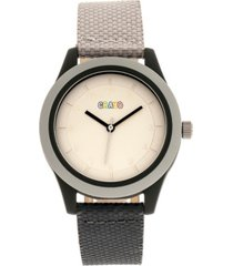 crayo unisex pleasant gray, black leatherette strap watch 39mm