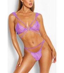multi strap pretty lace bralette and brief set, purple