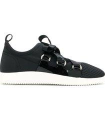 giuseppe zanotti slip-on ribbon tie sneakers - black
