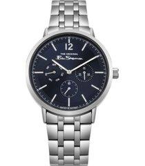 ben sherman men's silver-tone stainless steel multifunction watch, 40mm