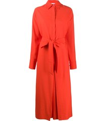 ami paris shirt-style belted jumpsuit - red