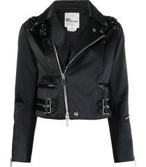 comme des garçons noir kei ninomiya lace-up cropped biker jacket -