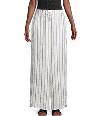 dkny women's striped wide-leg pants - soft white - size m