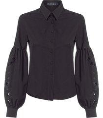 camisa feminina maximanga richelieu - preto