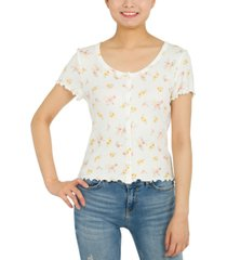 hippie rose juniors' floral-print top